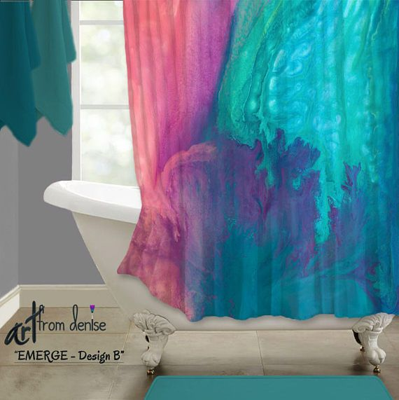 Contemporary bathroom decor. Colors in this shower curtain include teal, aqua, turquoise blue, coral, pink, and purple. Artist - Denise Cunniff - ArtFromDenise.com. View more info at https://www.etsy.com/listing/526426311