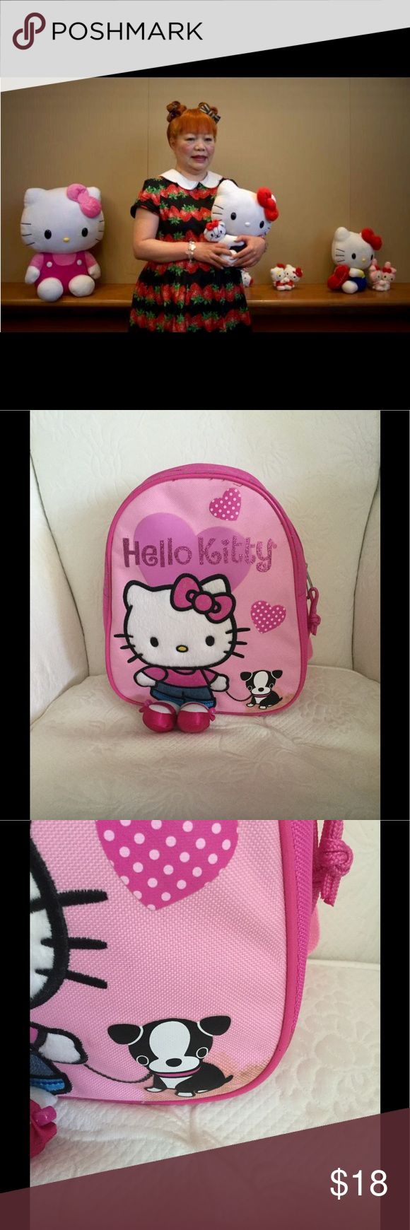 Hello Kitty! Cheerful & Happy!🎀 So Adorable.. This Back Pack, small with little shoes attached. *Never Used* There is a stain on the bottom near the doggie. A few stains inside. Hello Kitty a little girl with a heart of gold. Hello Kitty Other