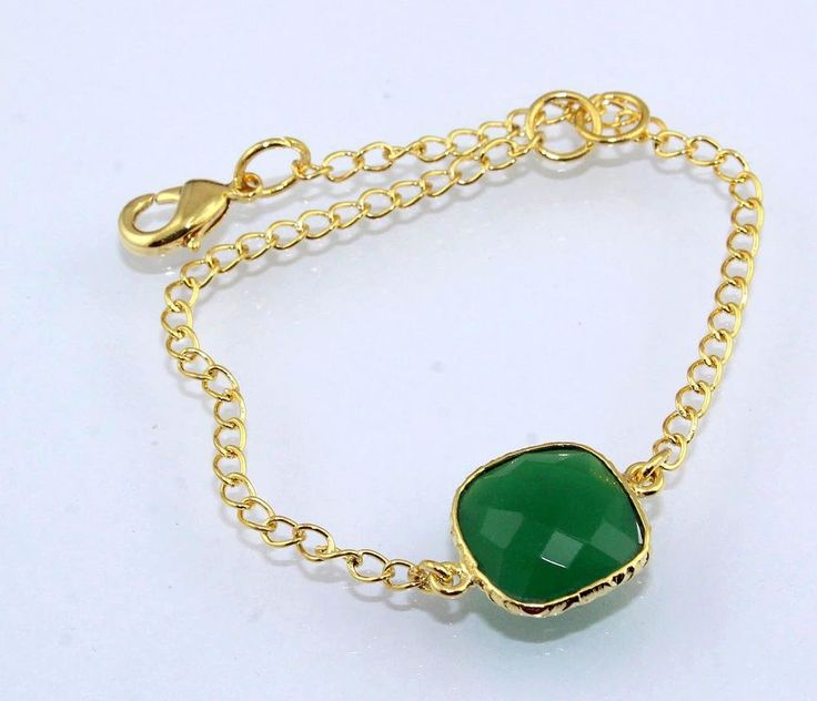 Zj8824 For Sale Green Onyx 24k Gold Plated Adjustable Bracelet Fashion For Girls #Handmade #Bangle #PartyCasual