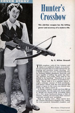 Build a Hunters Crossbow (Dec, 1953)Hunters Crossbow, Hunters 8217 Crossbow, Diy Crossbow, Weapons Survival Hunting Fish, Primitives Archery, Diy Weapons, Diy Woodworking Crossbow, Buildings, Bows