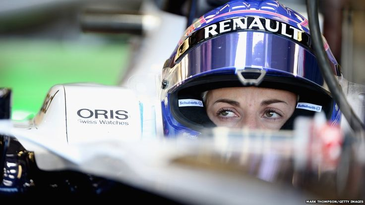 Susie Wolf, of Great Britain and Williams F1 team, prepares to drive during the young drivers test at Silverstone Circuit in Northampton, England.
