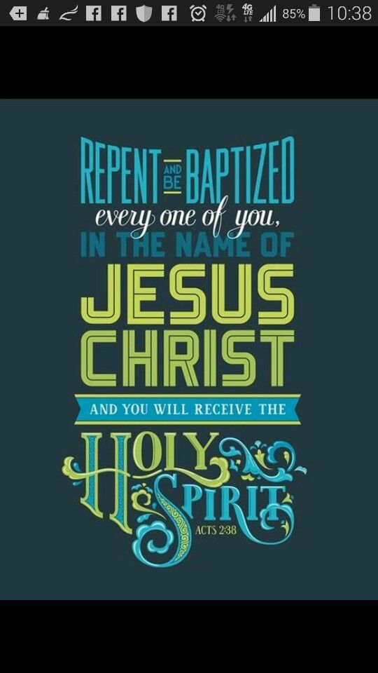 "*Acts 2:38* #KJV ""Then Peter said unto them, Repent, and be Baptized every one of you in The Name of Jesus Christ for the remission of sins, and ye shall receive The Gift of The Holy Ghost."" #GoodMorning #DailyBiblePosts #BibleScriptures #BibleVerses #Bible #TheBible #TheHolyBible #TheWordOfGOD #Scripture #Verse #LifeChanging #WordForToday #ScriptureForToday #VerseForToday #Acts #Monday #February #2nd #2015 #HaveAGoodDay #5683 #Day33 #InTheNameOfJesus #Amen #BeBlessed #ThankGOD #BlessGOD…"