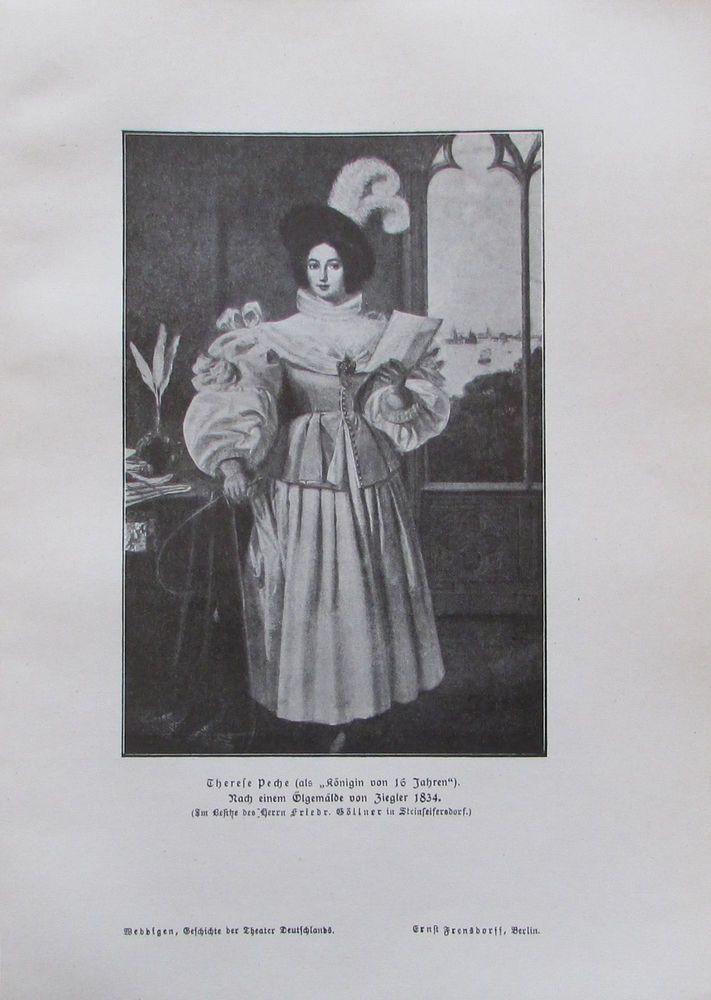Therese Peche als Königin von 16 Jahren, Schauspielerin - alter Druck aus 1906