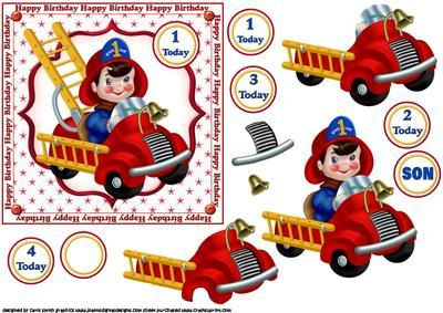 Lil fireman birthday boy on Craftsuprint designed by Carol Smith - a decoupage sheet for the young boys, has the budding little fireman in his bright red fire engine ready to go to work, tags provided say 1 today, 2 today, 3 today, 4 today and son also a blank tag for the age or greeting of your choice, a nice bright a cheerful topper for any young boy,thank you for looking please take a peek at my other items - Now available for download!