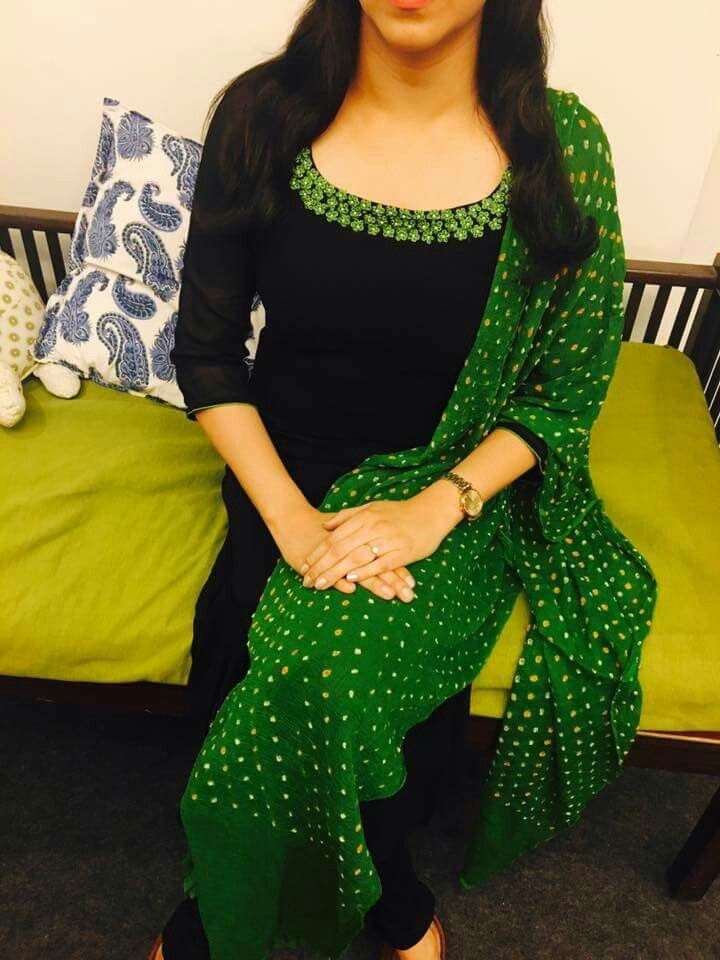 Black Chudidar green pallu