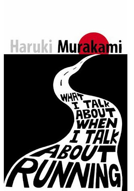 "Book cover of ""What I talk about when I talk about running"" by Haruki MURAKAMI (Japanese author) - ""I wake up, but where? I don't just think this, I actually voice the question to myself: ""Where am I?"" As if I didn't know: I'm here. In my life. A feature of the world that is my existence."" (in Dance, Dance, Dance, 1988)"