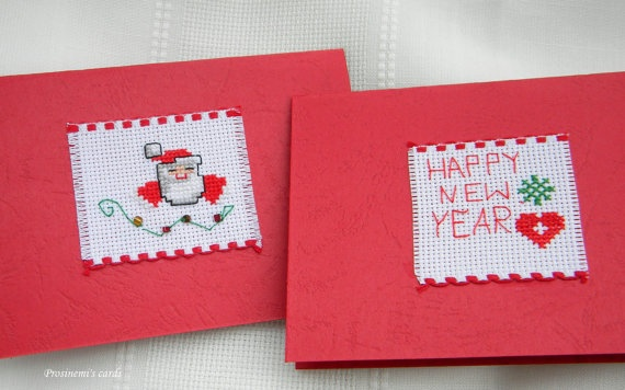 Christmas set of  Happy new year cross stitch cards by prosinemi, €10.00