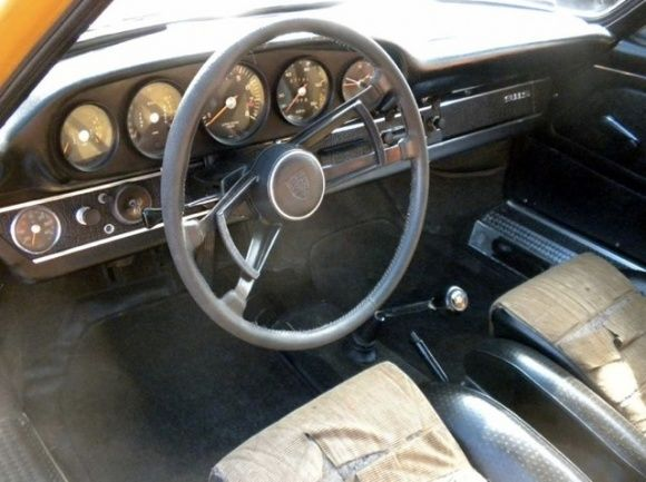 1967 Porsche 911S Barn Find Bahama Yellow Sports Kit Project Car For Sale Interior