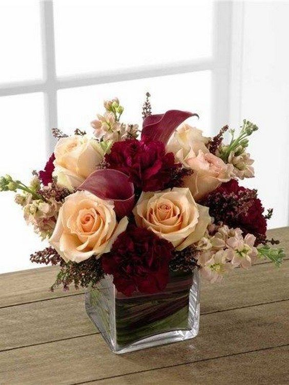 peach and burgundy wedding centerpiece / http://www.deerpearlflowers.com/burgundy-and-blush-fall-wedding-ideas/2/