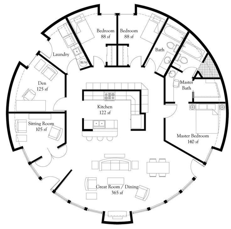 Plan Number: DL5006 Floor Area: 1,964 square feet Diameter: 50' 3 Bedrooms 2 Baths Study Sitting Room