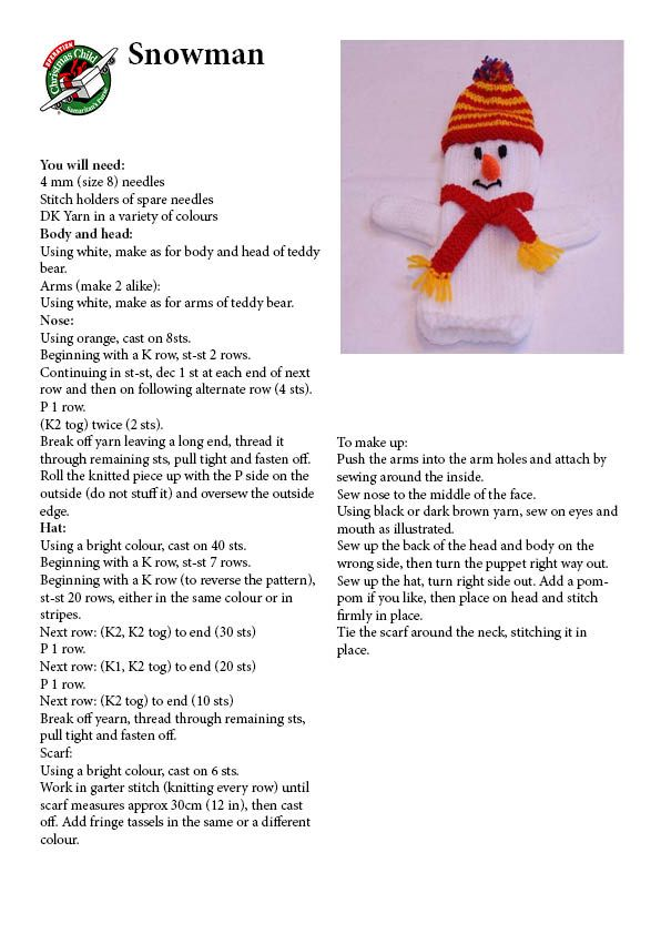 Knitting pattern for snowman hand puppet