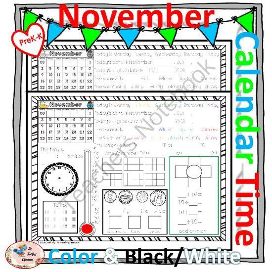 Kindergarten Calendar Time Common Core : Morning work calendar time worksheets november common