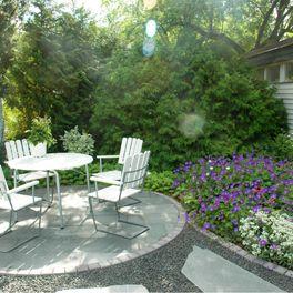Jarfalla garden, sitting place slate, gravel and cobble stone edge