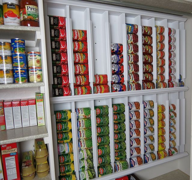 I Would Never Have This Many Cans Of The Same Thing But A Great Idea Just Make It Smaller Rotating Canned Food System Diy Even If You Re In A Small