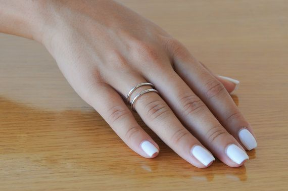 Sterling silver adjustable ring Silver wire ring by Wavejewels