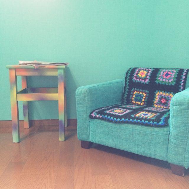 Oltre 1000 idee su ソファカバー 手作り su Pinterest | Cuscini e ... manolaさんの、部屋全体,ソファ,カラフル,DIY,リメイク,壁紙