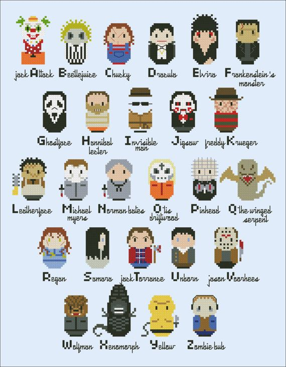 This is a parody, an inspirational cross stitch pattern of famous horror movies killers. A superfun alphabet sampler for all the horror fan.  A=Jack Attack (Demonic Toys), B=Beetlejuice, C=Chucky (Childs Play), D=Dracula, E=Elvira, F=Frankensteins Monster, G=Ghostface (Scream), H=Hannibal Lecter (Silence of the Lambs), I=The Invisible Man, J=Jigsaw (Saw), K=Freddy Krueger (A Nightmare on Elm Street), L=Leatherface (The Texas Chainsaw Massacre), M=Michael Myers (Halloween), N=Norman Bates…