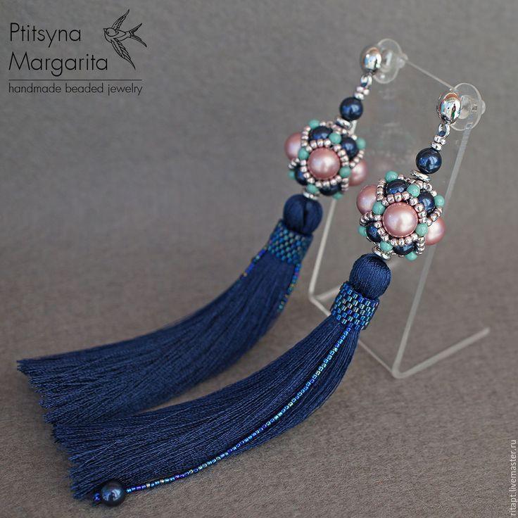 Купить Серьги кисти Night Blue - серьги кисти, серьги-кисти, длинные серьги