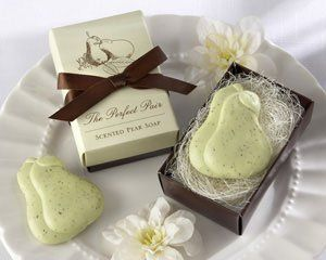 """""""The Perfect Pair"""" Scented Pear Soap - Set of 25 by Kateaspen. $53.43. Inside is the perfect pear soap, beautifully expressing to your guests what you already know to be true. Sweet-scented soap pale green and speckled with brown, just like a pear. Set of 25. A fragrance as refreshing as a crisp, cool autumn day or a warm spring rain wafts from the stunning gift box as soon as its opened. A fragrance as refreshing as a crisp, cool autumn day or a warm spring rai..."""