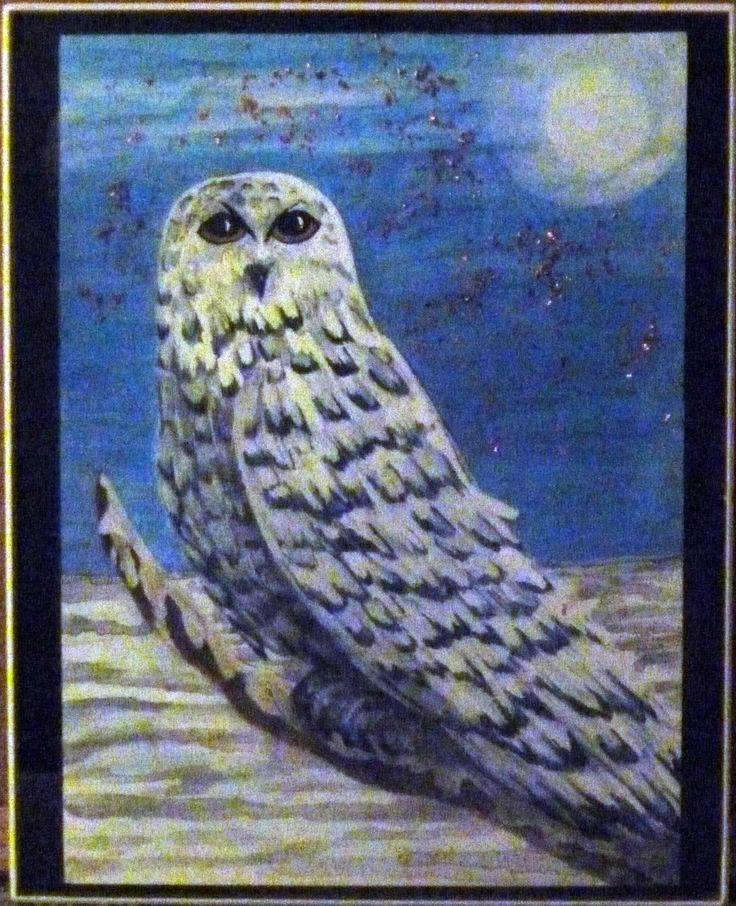 "White Owl in the Moonlight - water color with real copper stars. Size: 8"" x 10 "" framed Contact me if interested in purchasing at: metz_debbie@yahoo.ca"