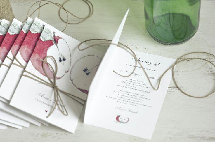 zaproszenia ślubne z motywem jabłka Jabłuszko #wedding