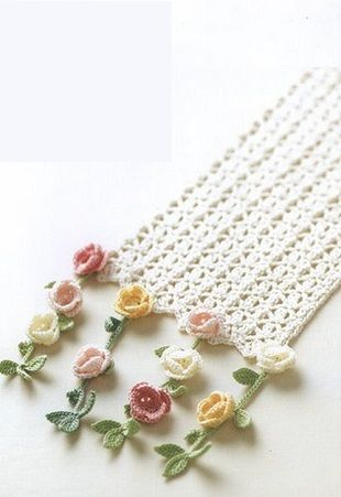 I also pinned the chart for this flower trim. There are no further instructions at link. This would look great at the bottom of a skirt or dress.