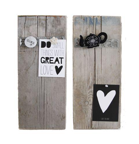 Prik- magneetbordjes steigerhout, handig en mooi.