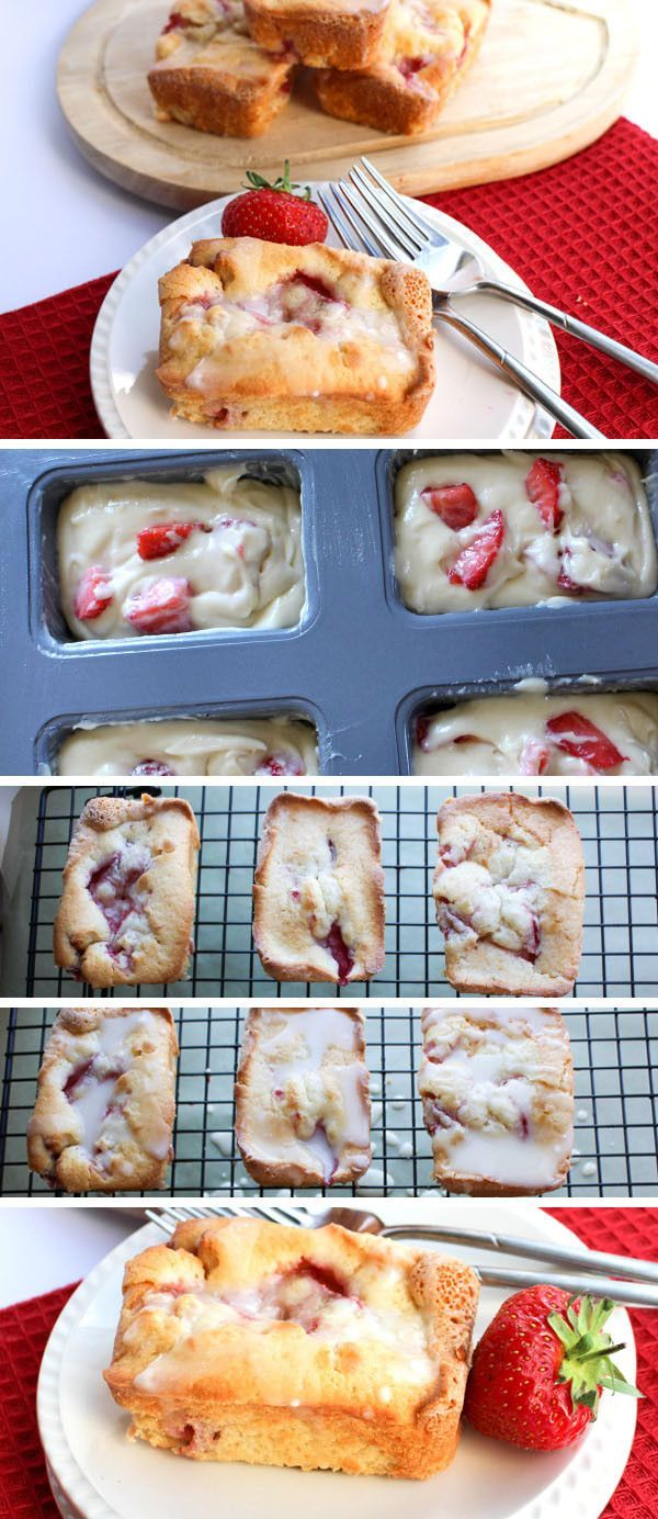 Strawberry Drizzle Cakes - Erren's Kitchen - This recipe for is a summery twist on lemon drizzle cake. It's secret ingredient is cream cheese which makes them rich, moist and decadent!