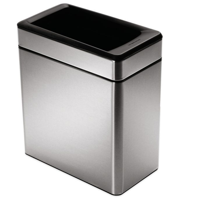 Simplehuman 10 Liter Profile Open Stainless Steel Trash Can Trash Can Simplehuman Brushed Stainless Steel