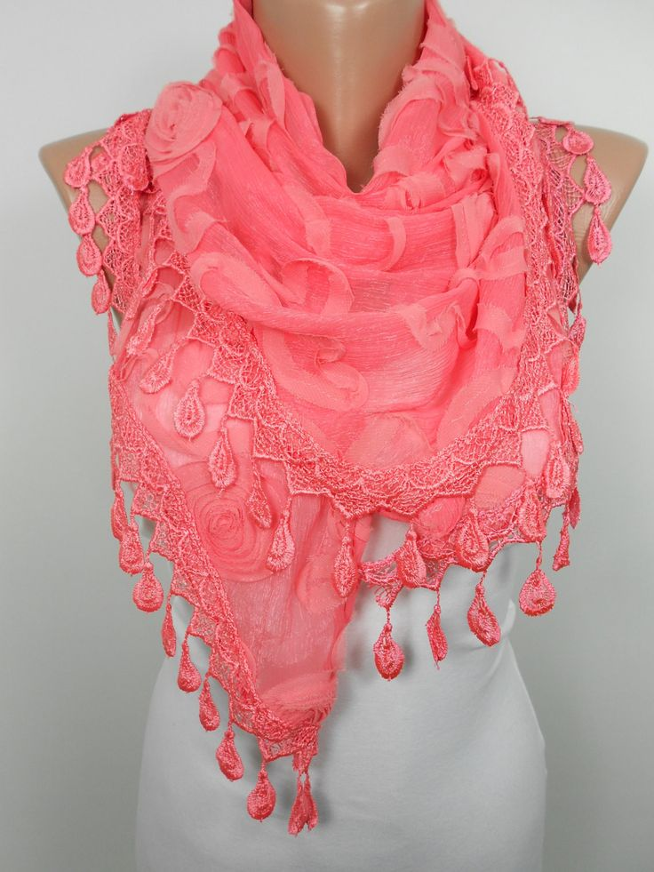 ScarfCluB Mothers Day Gift Boho Coral Scarf Shawl Salmon Cowl Scarf with Lace www.scrfclub.net