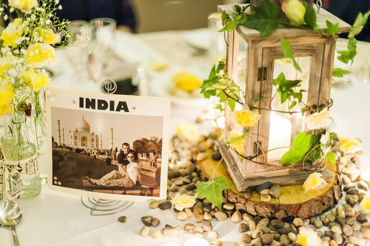 Each table was named after a country that we had visited and on each table there was a picture of us in that particular country