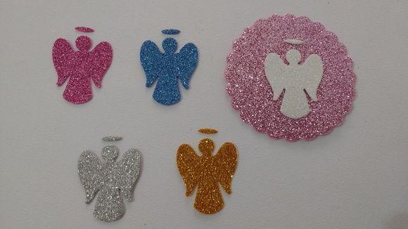 Aplique silhueta de anjo com aréola confeccionado em EVA com Glitter nas cores Rosa, Azul , Branco , Prata ou Dourado.   Tamanho 3,2x 2,8 cm
