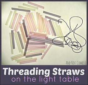 And Next Comes L: Threading Straws on the Light Table {Fine Motor Fridays}
