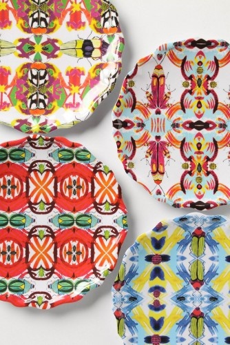 Kaleidobug Melamine Plate eclectic dinnerware: Dinners Plates, Decor, Melamine Plates, Pattern, Kaleidobug Melamine, Summer Parties, Colors Schemes, Plates Wall, Anthropology Plates