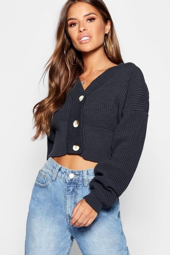 a18feff9bef7fd Petite V Neck Pluge Button Up Crop Cardigan – 2019
