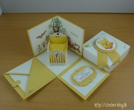 stampin up, baby, explosion box, winnie pooh