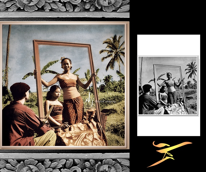 The painter Don Antonio Blanco (1912-1999) and his Balinese models, date unknown.