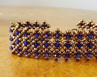 Bronce y azul brazalete con cuentas pulsera por AmyKanarekDesigns