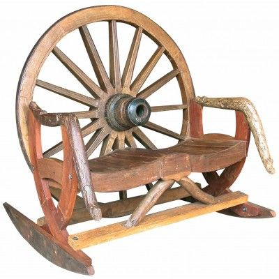 TF-0735 Arapaho Wagon Wheel #Bench Rocker #westernfurniture #rustic # ...
