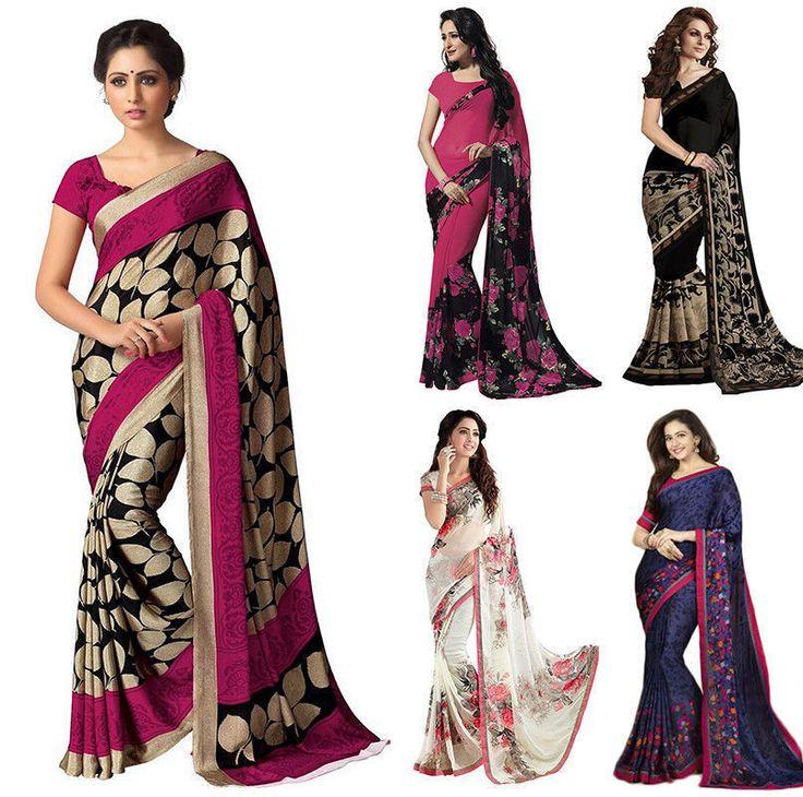INDIAN WOMEN ETHNIC PRINTED DESIGNER SAREE TRADITIONAL PARTY WEAR BOLLYWOOD SARI #FashionBazar