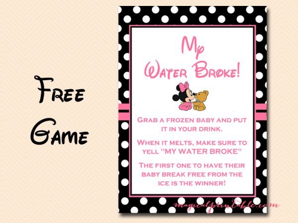 Free Minnie Mouse Baby Shower Games My Water