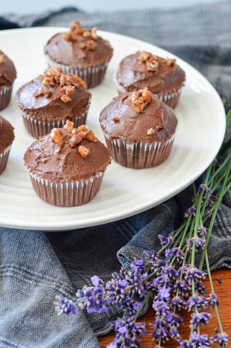 Decadent Dark Cocoa Cupcakes with Chocolate Fudge Icing and a Praline Topping  (grain-free/gluten-free, dairy-free, refined sugar free)