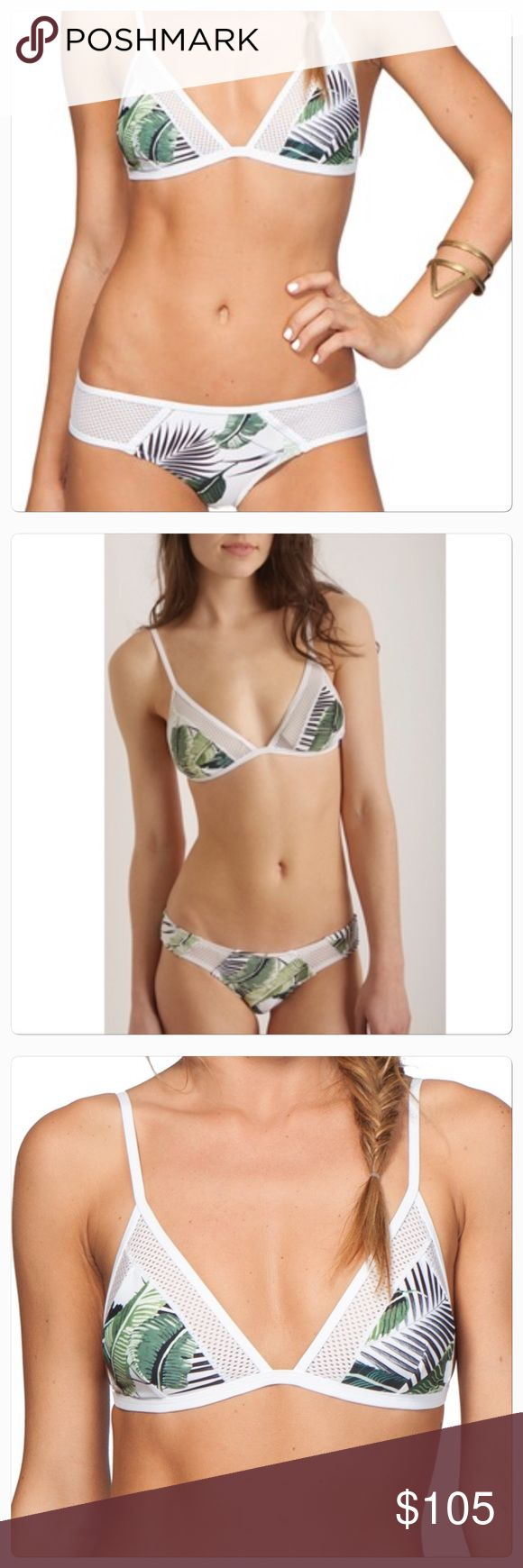 NWT Rip Curl ISLAND PALM Bikini  Brand New With Tags! Sold Out! HTF!   PALM ISLAND Floral Print Triangle Bikini Top - Sz Medium A bright palm print livens up a sporty triangle bikini top accented with airy mesh details edging the cups and back. •Clasps behind back. •Lined. •85% polyamide, 15% elastane. •Hand wash cold, line dry. •By Rip Curl; imported.  PALM ISLAND Hipster - Sz Small  Cheeky coverage printed microfiber bikini bottom with front mesh insets.  •Material is Polyamide and…