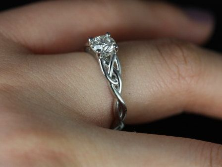 Cassidy 14kt White Gold Round Diamond Celtic Knot Engagement Ring | rosadosbox - Jewelry on ArtFire