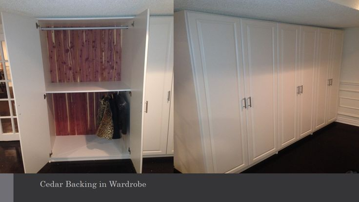 Our client needed a space to store her seasonal jackets and clothing. We lined the back of this wardrobe unit with cedar to ensure her coats will be ready when she needs them!