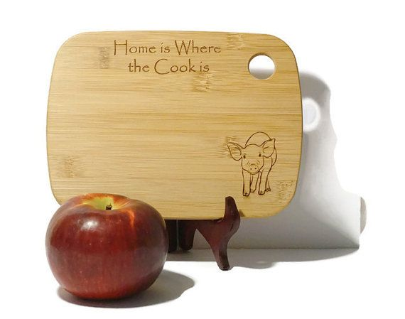 Cute Pig Cutting Board Pig Kitchen Decor By ElephantMemoriesltd