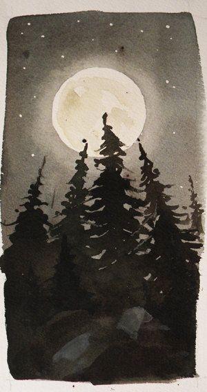 Original Watercolor Landscape - Moonlight Treeline