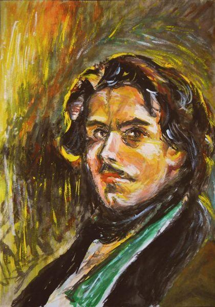 水彩です。 ドラクロワは、フランスの19世紀ロマン主義を代表する画家です。