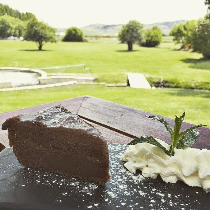 Choclate mud cake from Nant Distillery, Whisky Estate, Bothwell ~ article and photo for think-tasmania.com ~ #Tasmania #Bothwell #whisky #foodie #ediTAS #distillery #lunch #Atrium #CellarDoor #heritage #mill #chocolate #MudCake