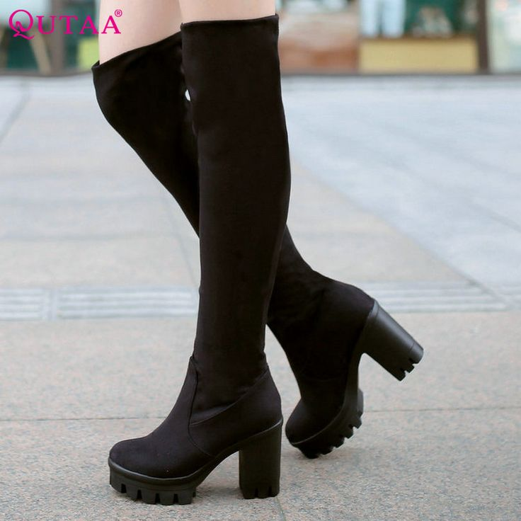 QUTAA 2017 Classic Ladies Winter Shoes Square High Heel Women Over The Knee Boots PU leather Woman Motorcycle Boots Size 34-43